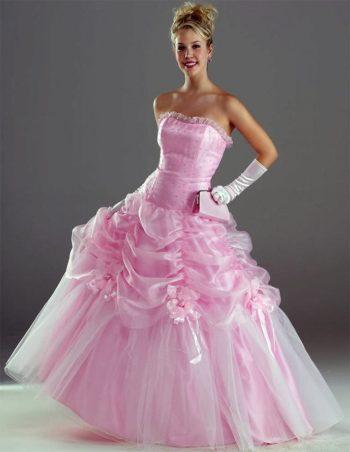 свадебное платье в розовых тонах