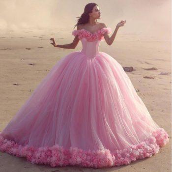 розовое свадебное платье невесты