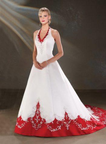 свадебное бело красное платье