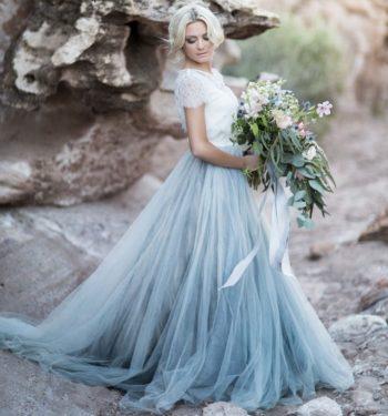 свадебное платье голубых оттенков
