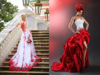 варианты свадебных платьев красных оттенков