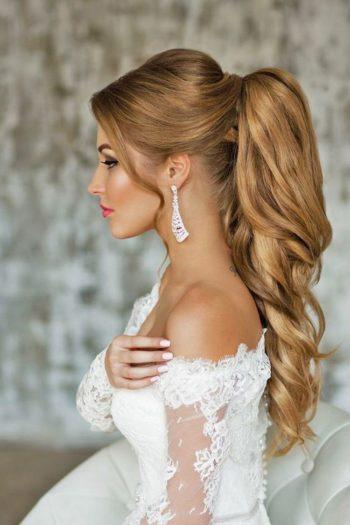 Эффектные свадебные прически хвост для невест с длинными и средними волосами