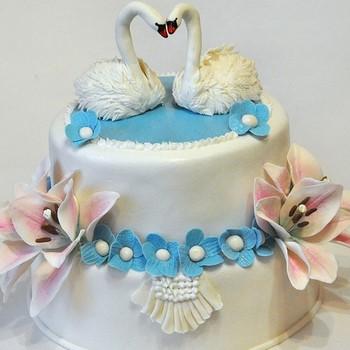 Свадебный  торт с лебедями. Рецепт с пошаговыми фото