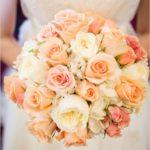 Фото большого персикового букета на свадьбу