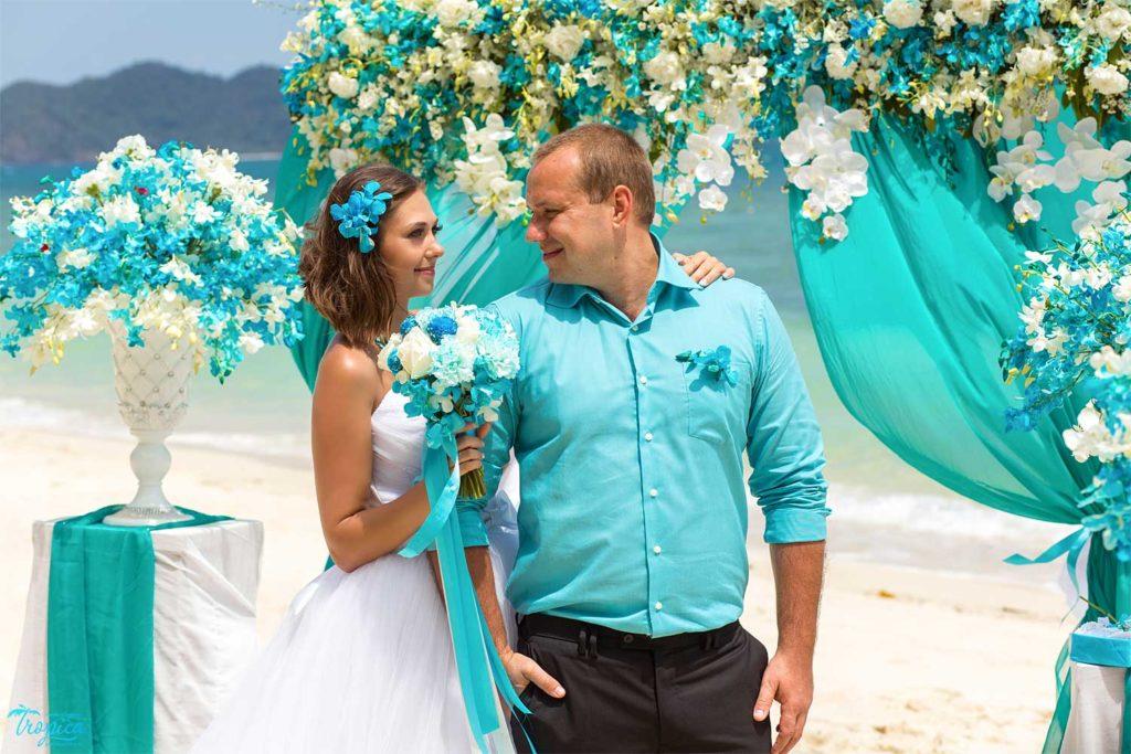 Фотосессия на бирюзовой свадьбе