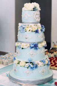 Оформление свадебного торта в бирюзовом цвете