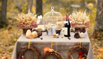 Осенний свадебный стол в стиле рустик