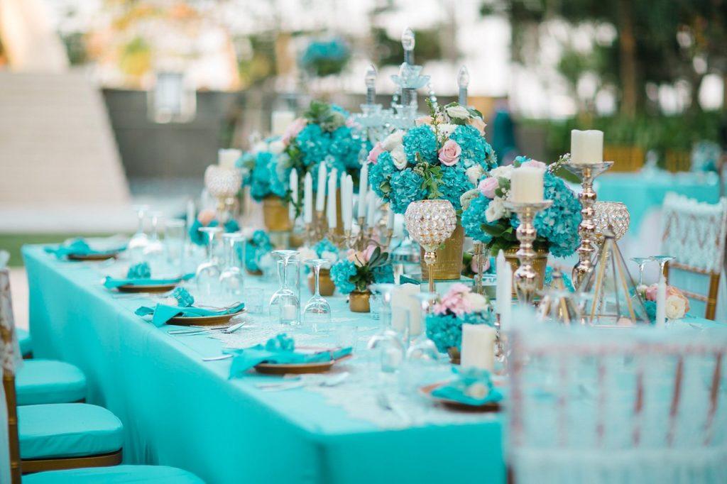 Оттенки свадьбы в бирюзовом цвете