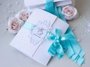 Пригласительные на свадьбу в бирюзовом цвете