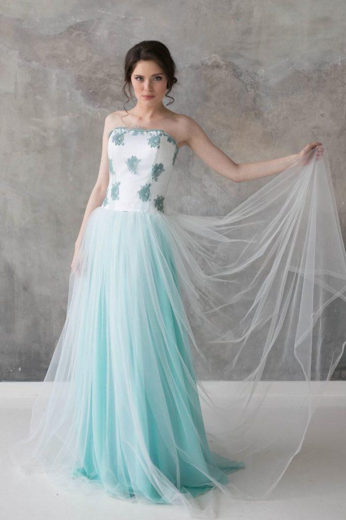 Свадебное бирюзовое платье